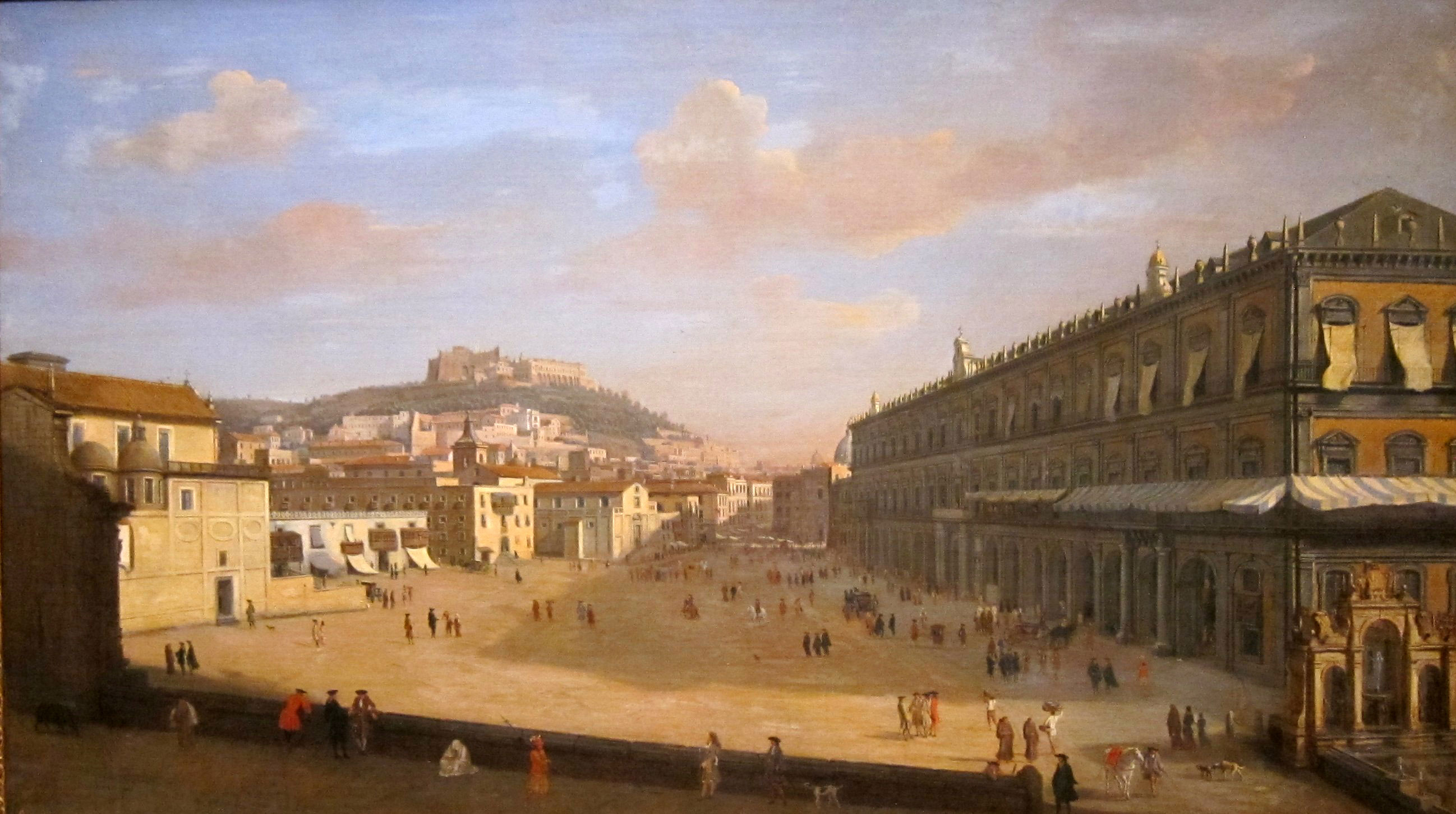 Napels (View of the Royal Palace at Naples door Gaspa van Wittel